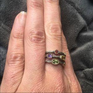 Sterling Silver 18k gold ring semi-precious stones